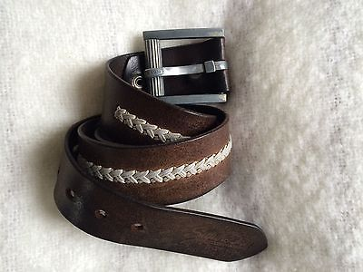 superdry leather classic brown belt with chunky buckle 7